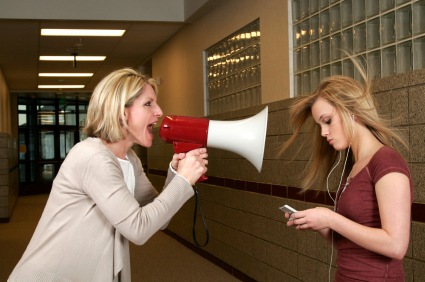 Megaphone mother yelling at daughter